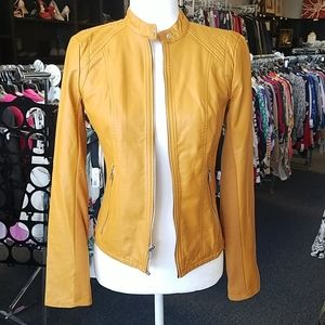 Express Mustard Yellow Faux Leather Moto Jacket S
